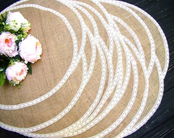 Round Burlap Placemat Circular Wedding Centerpiece Burlap and ivory lace Holiday Table Mat Country Table Topper Rustic Chic Decor