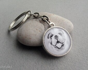 English Bulldog Key Ring, Pet Drawing, Pet Gift, English Bulldog Keychain, Dog Art, Beaded Key Ring, Dark, Black, Grey, Silver