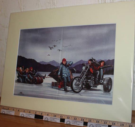 David Mann ''Ice Fishing'' 16'' x 20'' Matted Motorcycle Biker Art #8703ezrxmc