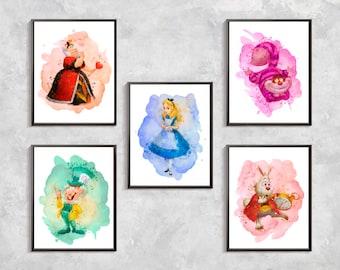 Alice In Wonderland Print, Alice In Wonderland watercolor set, Alice In Wonderland party, Alice In Wonderland  nursery, digital download