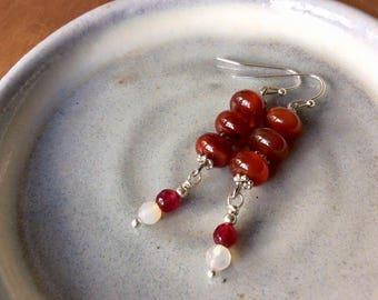 Carnelian Earring, Drop Earring, Carnelian Jewelry, Dangle Earring, Simple Earring, Genuine Gamestone Earring.