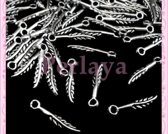Set of 100 small charms silver feathers 1 cm REF2317