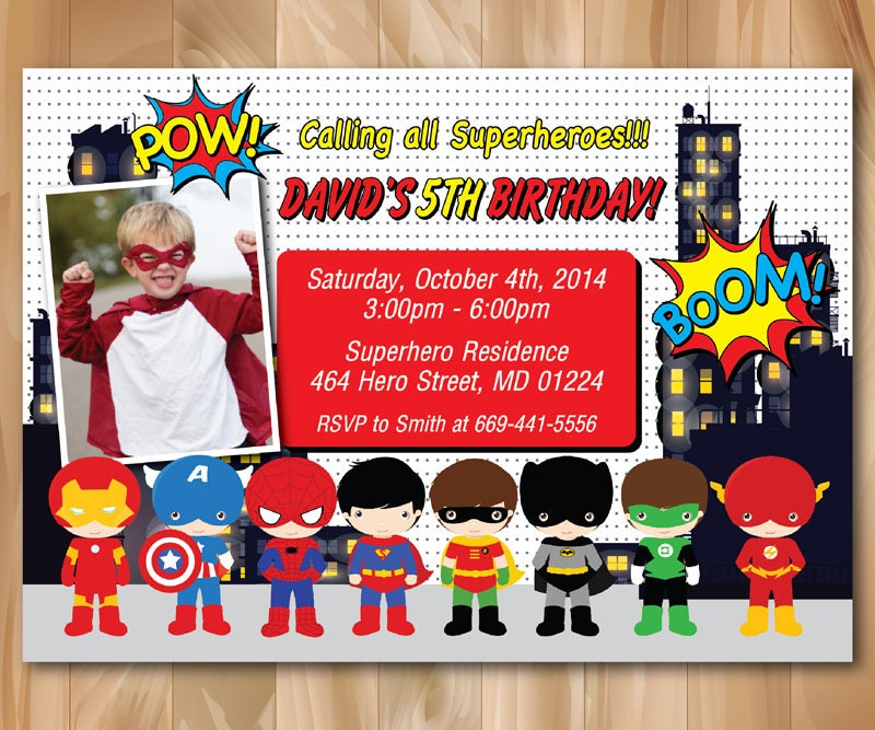 Superhero Birthday Party Invitation. Super Hero Pop Art Bday
