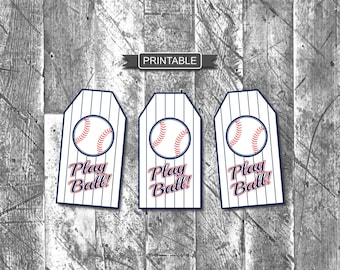 DIY Baseball Gift Tags for Goodie Bags Party Favors Treat Bags White Blue Red Printable PDF Instant Download-Play Ball