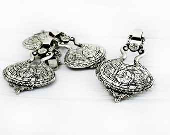 Ethnic Metal Pendant, Silver Tone Tribal Pendant for Necklaces, Jewelry Making, 45x65 mm Pendant