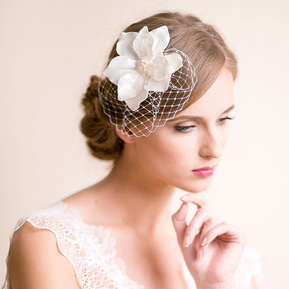 bridal fascinator with magnolia flower bridal headpiece