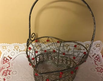 Vintage Metal Heart Basket with Red Beads