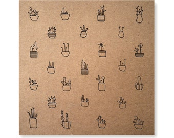 Houseplants Card, Handmade Gardening Card, Illustrated Card, Plants Card