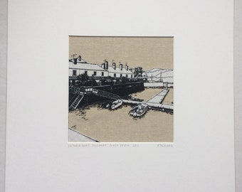 Mounted limited edition embroidered print of Victoria Quay in Salcombe, by Flo Snook