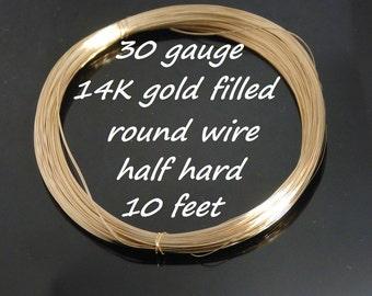 30 gauge 14K gold filled half hard round wire, 10 feet