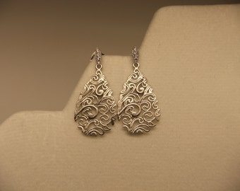 Tarnish resistant silver filagree drop earrings with CZ detaile silver posts