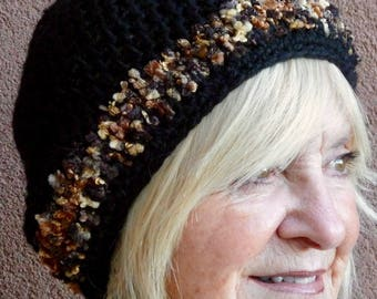 Chic black winter hat with a touch of brown, women's crochet hat with style and class, a little Bohemian hat in black, a gift for her