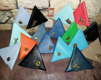 Leather triangle wallet