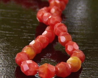 Persimmon Coral Czech Glass Bead 4mm Round : 50 pc Full Strand
