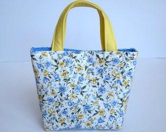 Girl's Handbag, Mini Tote Bag, Kids Bags, Handbag for Girls, Kids Pretty Floral, Blue & Lemon Floral, Pretty Girls Gifts, Flower Girl Bag