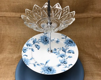 Three Tier Stand, Jewelry Stand, Vanity Tray, or Dessert, Appetizer, Cake Stand, Shabby Chic, Blue