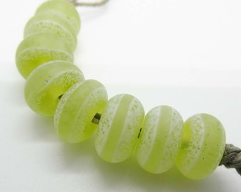 Apple Green White Enamel Handmade Lampwork Glass Beads - Prima Donna Beads