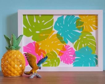 Tropical Leaf Screen Print, Monstera Leaf Screenprint, Colourful Art Print, Cheese Plant Art Print, Tropical Art Print, Cheese Leaf Print