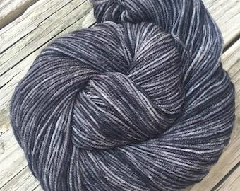 Ghost Ship Charcoal Gray Hand Dyed Worsted Weight Yarn Hand Painted yarn 218 yards Superwash Merino Wool treasure goddess swm black grey