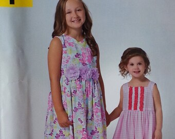 Simplicity A1189 Girls Dress Pattern Size 3-8years Sleeveless Summer Dress Pattern