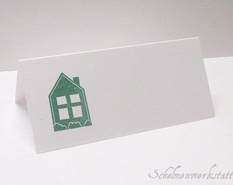 Table card with stamped house (6 pcs)