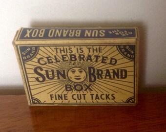 Sun Brand Box - Fine Cut Tacks .1930's.