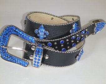 Women's Rhinestone Leather Bling Belt Fleur De Lis black with Blue Rhinstones
