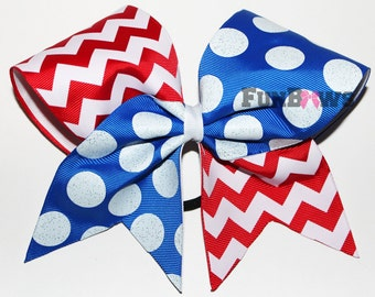 Awesome Red White and Blue Patriotic Chevron and polka dot hairbow CHEER - by FunBows !