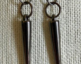 Gunmetal Spike Earrings, 50 mm long!