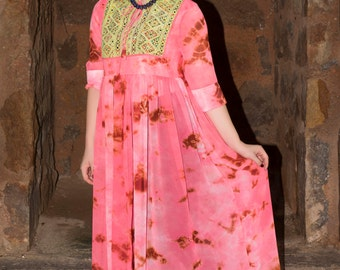 Kutch Embroidered Bodice Pink tie and dye  Print Georgette  Long assymetrical length Dress long Indian Style