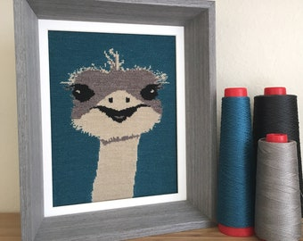 Ostrich Knit Illustration 8x10 Textile Wall Art - Teal