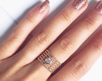 Ring wide rhinestone 6 rows-zircon - 750 gold plated / gold plated ring - solitaire ring - engagement-