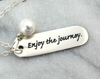 Enjoy The Journey Necklace, Inspirational Necklace, Quote Jewelry, Graduation Gift, Retirement Gift, Going Away Gift, New Mom's Necklace