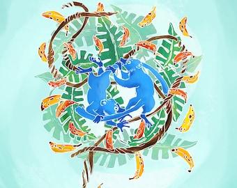 Lemur dance - DIN A-4 illustration
