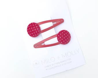 Fabric Button Red Pin Dot Hair Barrettes for Girls