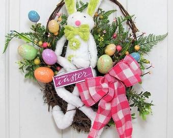 Easter Bunny Wall Basket - Front Door Decor - Easter Wreath - Easter Egg Wreath - Spring Wreaths - Easter Home Decor - Farmhouse Decor