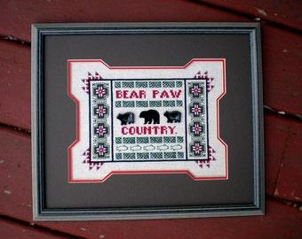 Framed Cross Stitch, Completed Finished Cross Stitch, Needlework Sampler, Northwoods Rustic, Log Home Decor, Black Bear Fish Native American