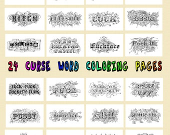 Swear Word Coloring Book 24 Pages PDF JPEG Curse Cuss Adult Printable