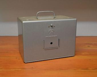 Vintage Brumberger film reel storage box metal file box