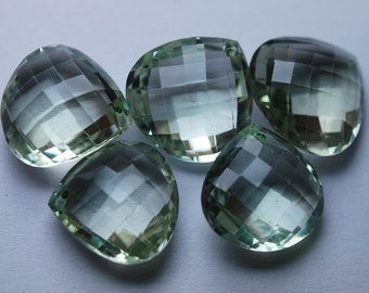 Front Drill,1 Match Pair,Super Rare,Natural Green Amethyst Faceted Heart Shape Briolettes Calibrated Size,16mm