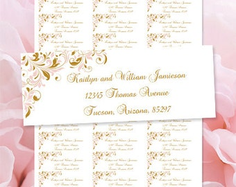 """Printable Address Labels """"Kaitlyn"""" Blush Pink & Gold Word.doc Avery 30/per sheet Compat. Instant Download ALL Colors Available DIY U Print"""