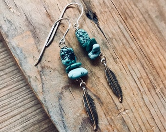 Turquoise Earrings With Silver Feather Sterling Silver Wire Wrapped December Birthstone Gemstone Jewelry Gifts Under 40 Boho Southwestern