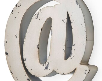 Antique ivory-colored metal letter @ 27X5X30 cm