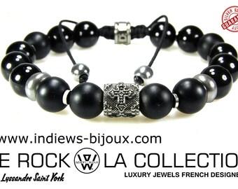 Mens bracelet Pearl, shamballa, men bracelet, cross bracelet, rock bracelet, shamballa style bracelet cross bracelet Silver 925 bracelet cord