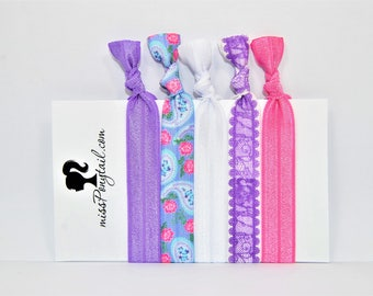 Elastic Hair Ties, Purple Lace, Pink, Blue Paisley, Handmade, Elastic Ribbon, Ponytail Holder, Knotted Hair Ties, Bracelet Hair Ties, Girls