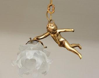 Antique French Bronze Angels Cherubin Cherub Ceiling Light, Flower Shade, style ''MATHIEU''