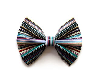 Multi Pinstripe Leather Bow Beautiful Adorable Holiday Christmas Fall Winter Clip for Newborn Baby Little Girl Child Adult Photo Prop