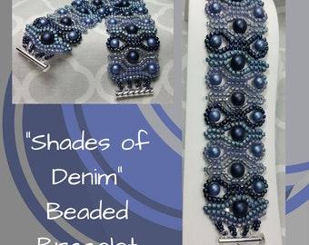 Shades of Denim Bracelet, Beaded Bracelet, Blue Bracelet, Pearl and Seed Bead Bracelet, Blue Satin Bracelet, Wide Bracelet, Gift for her