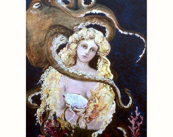 Mermaid Painting, Octopus painting, giclee print, Goddess of the sea, ocean painting, 5 x 7 print, beach art, coastal art