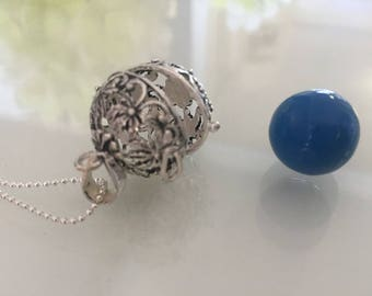 Blue Floral Pregnancy Maternity Harmony Ball Angel Caller
